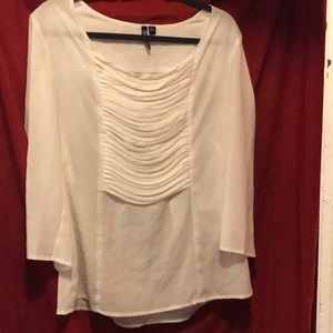"Ivory, Scoop Neck Blouse with Front ""Roped"" Detail"